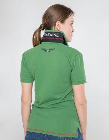 Women's Polo Shirt Wings. Color green. 9.