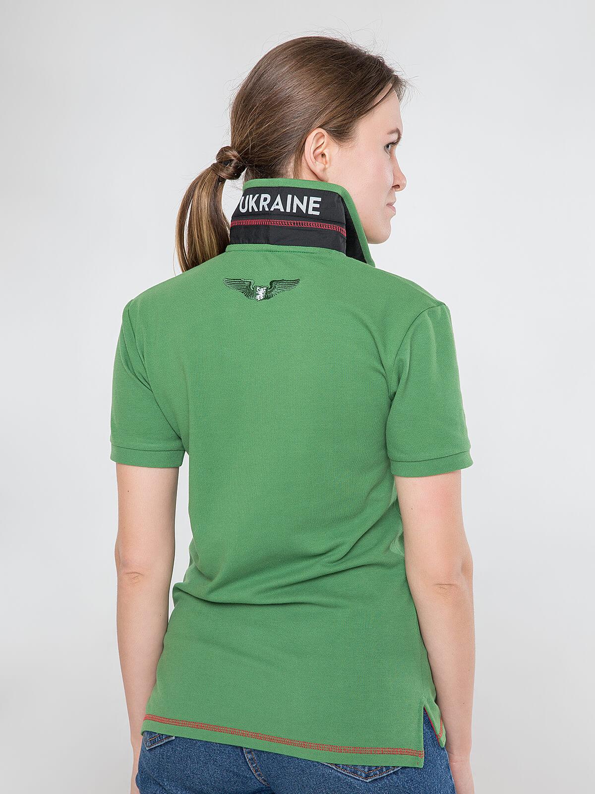 Women's Polo Shirt Wings. Color green.  Pique fabric: 100% cotton.