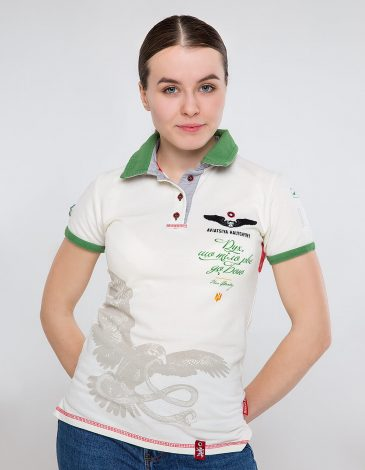 Women's Polo Shirt Ivan Franko. Color ivory.  Technique of prints applied: embroidery, silkscreen printing.