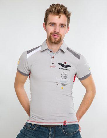 Men's Polo Shirt Indian. Color gray. Pique fabric: 100% cotton.