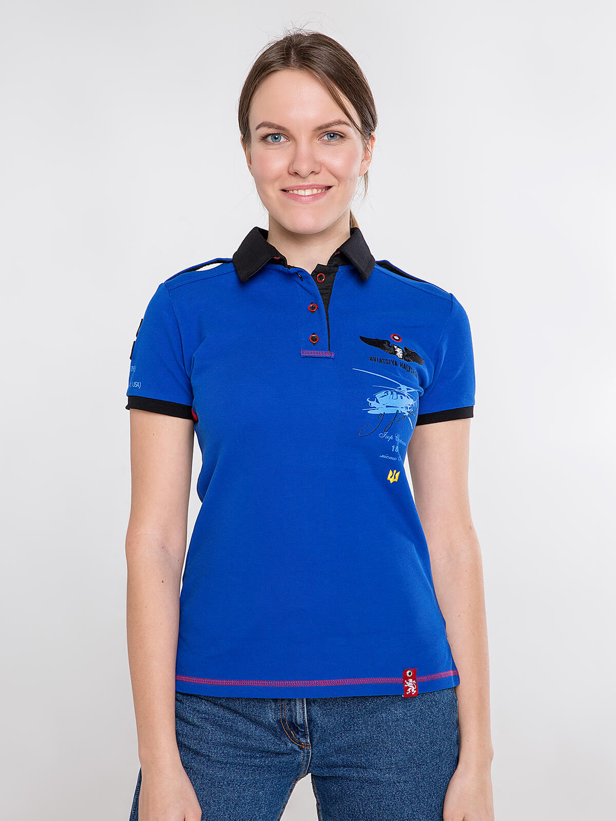 Women's Polo Shirt Sikorsky. Color navy blue. Pique fabric: 100% cotton.