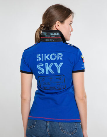 Women's Polo Shirt Sikorsky. Color navy blue.  Technique of prints applied: embroidery, silkscreen printing, chevron.
