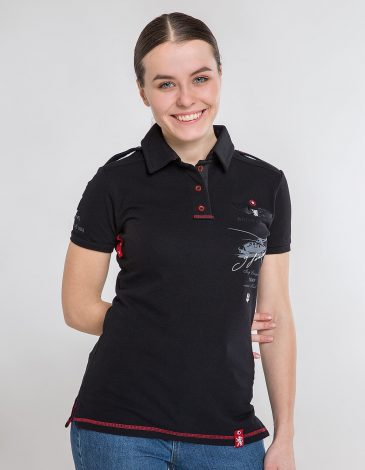 Women's Polo Shirt Sikorsky. Color black.  Size worn by the model: S.