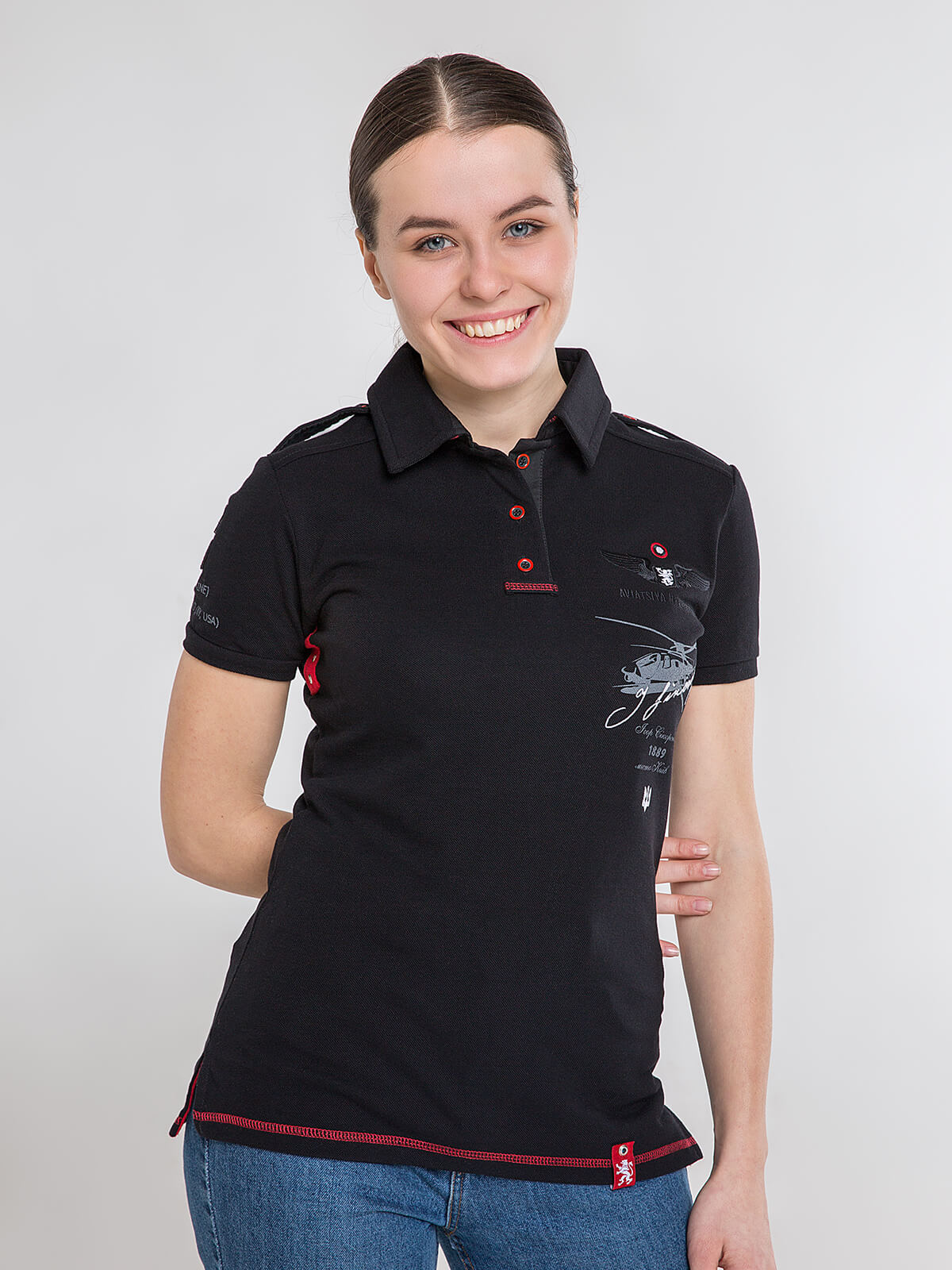 Women's Polo Shirt Sikorsky. Color black. Pique fabric: 100% cotton.