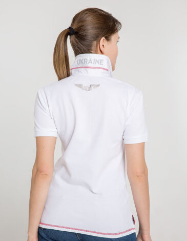 Women's Polo Shirt Wings. Color white. .