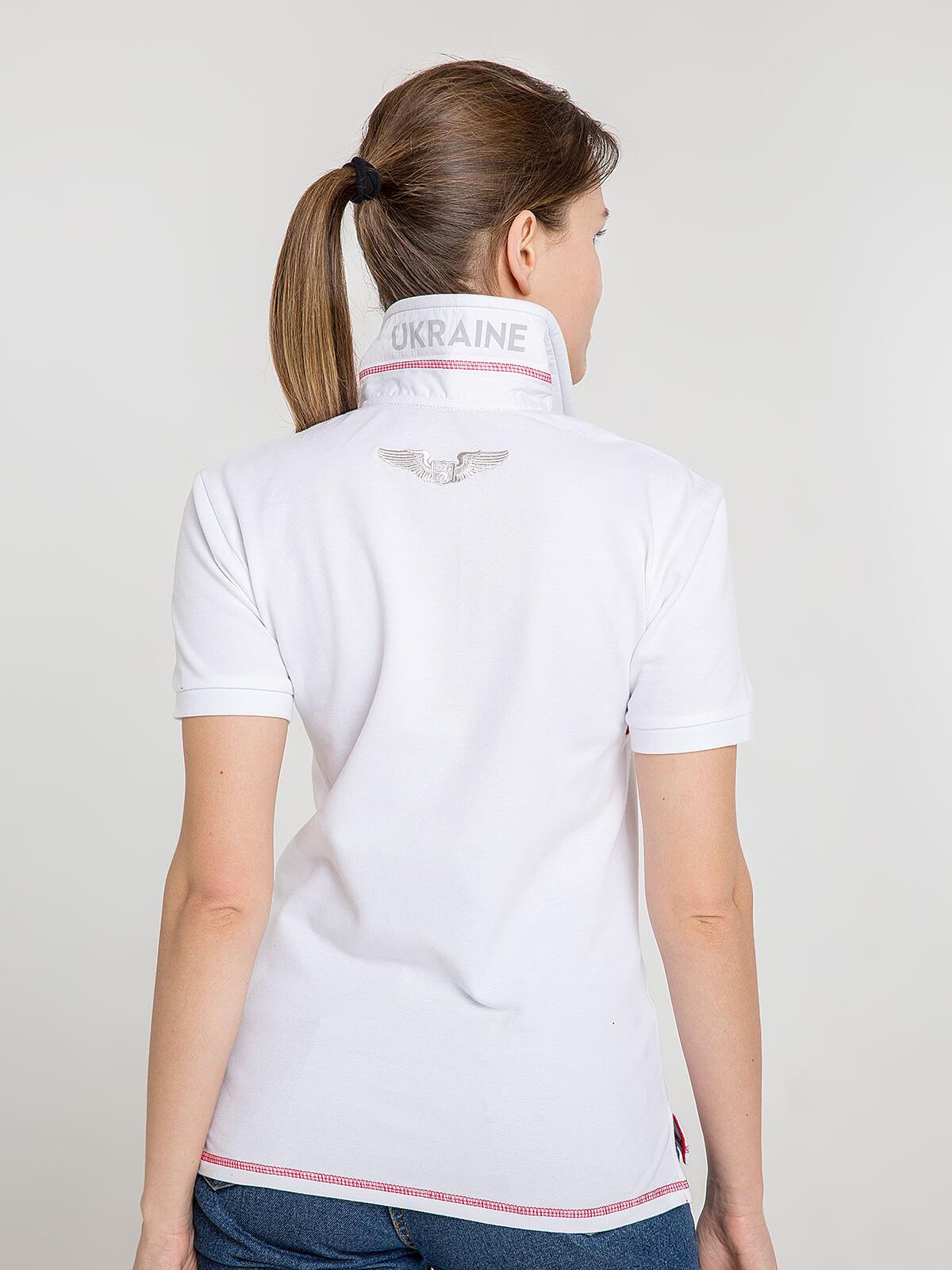 Women's Polo Shirt Wings. Color white.  Pique fabric: 100% cotton.