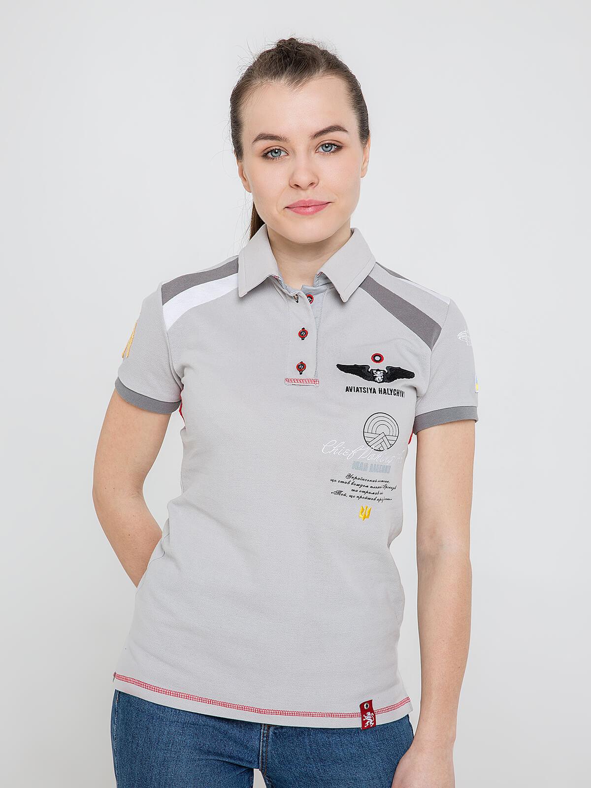 Women's Polo Shirt Indian. Color gray. Pique fabric: 100% cotton.