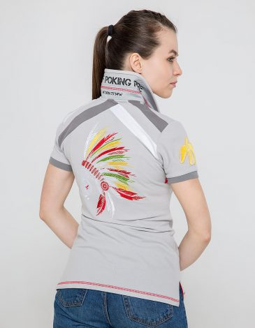 Women's Polo Shirt Indian. Color gray.  Technique of prints applied: embroidery, silkscreen printing.