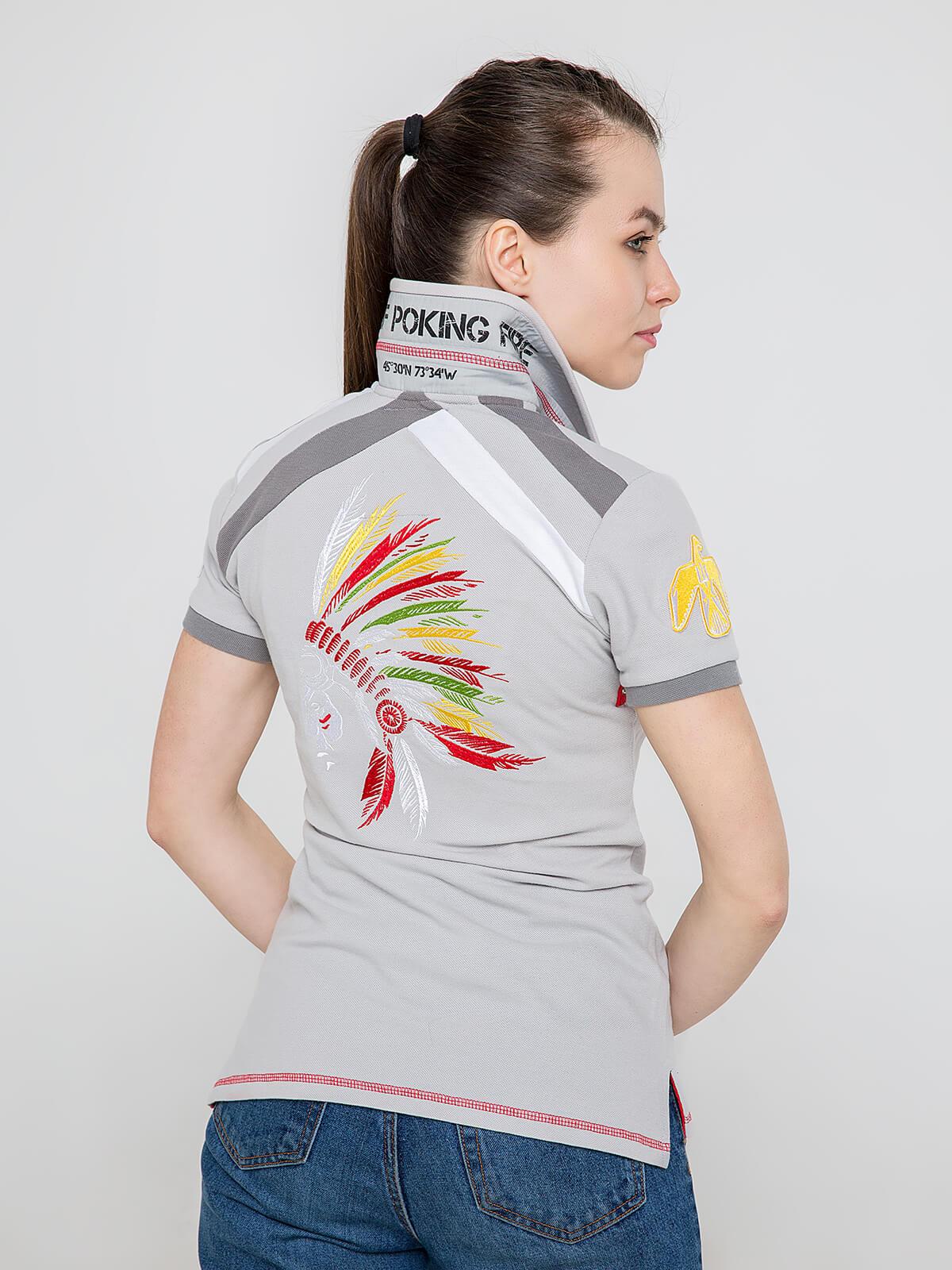 Жіноче Поло Індіанець. Колір сірий.  Технологія нанесення зображень: вишивка, шовкодрук, шеврони.