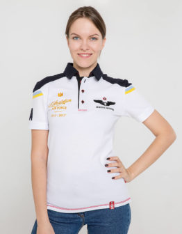 Women's Polo Shirt 100 Years Ua Aviation. Color white. Поло унісекс (розміри чоловічі).