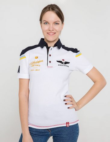 Women's Polo Shirt 100 Years Ua Aviation. Color white. Unisex polo (men's sizes).