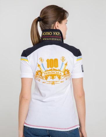 Women's Polo Shirt 100 Years Ua Aviation. Color white. Unisex polo (men's sizes).