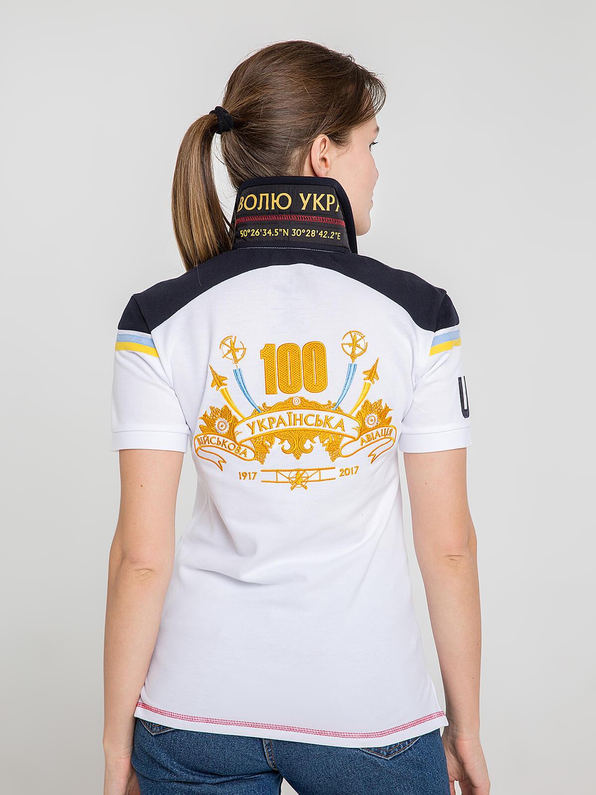 Жіноче Поло 100 Років Української Авіації. Колір білий.  Не варто переживати за універсальний розмір.