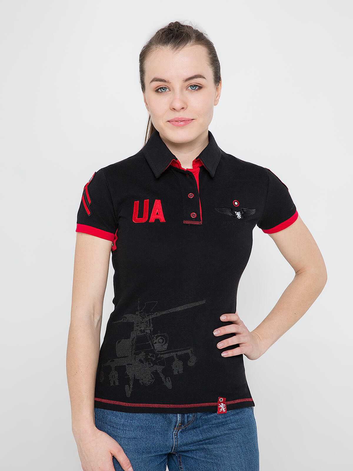 Women's Polo Shirt 12 Brigade (The Dragon Slayer). Color black. Pique fabric: 100% cotton.