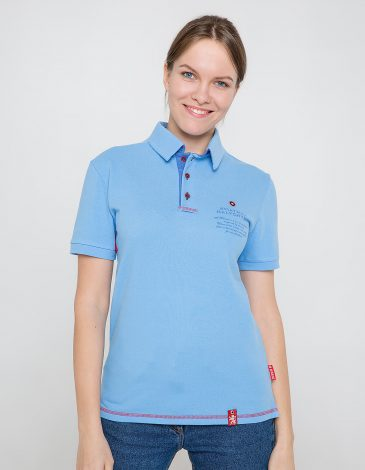 Women's Polo Shirt Wings. Color sky blue.  Height of the model:180 cm.