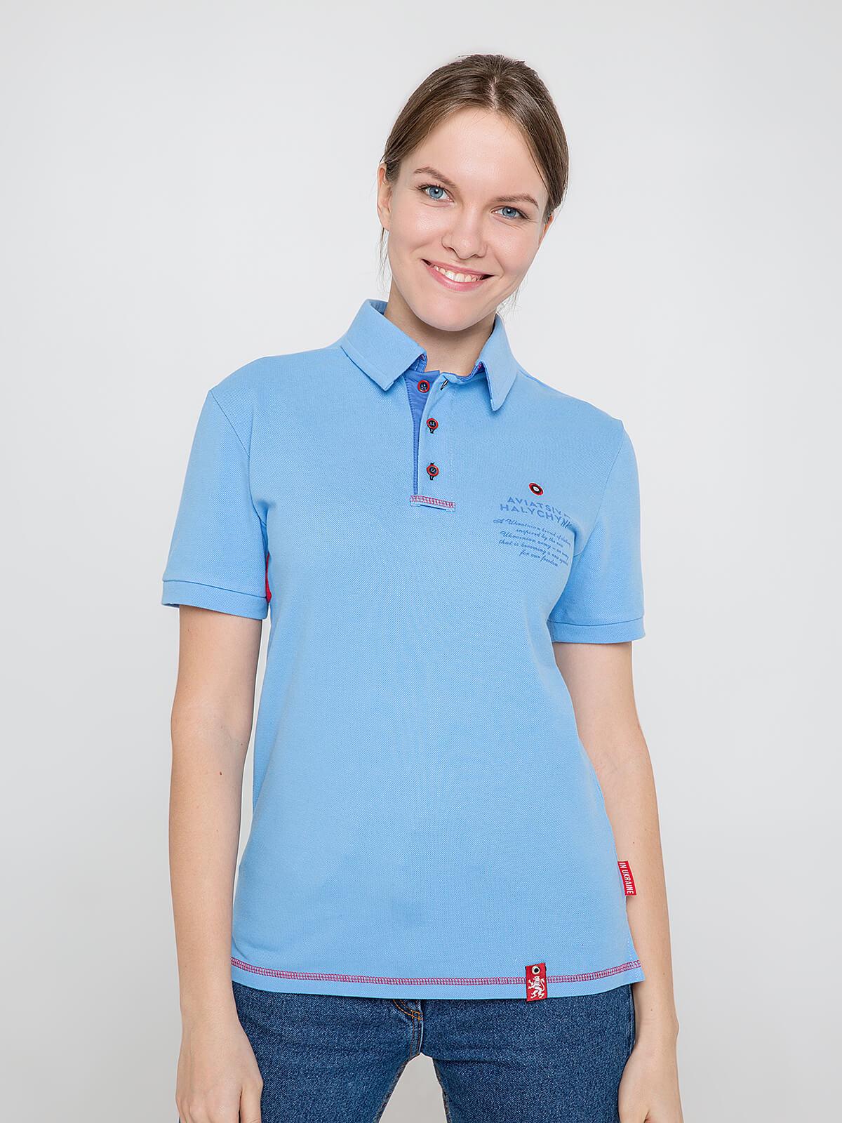 Women's Polo Shirt Wings. Color sky blue. Unisex polo (men's sizes).