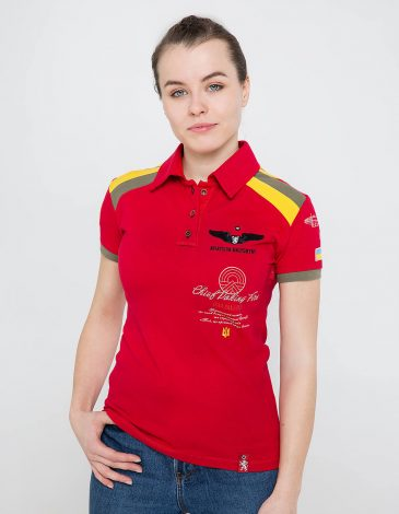 Women's Polo Shirt Indian. Color red. Pique fabric: 100% cotton.