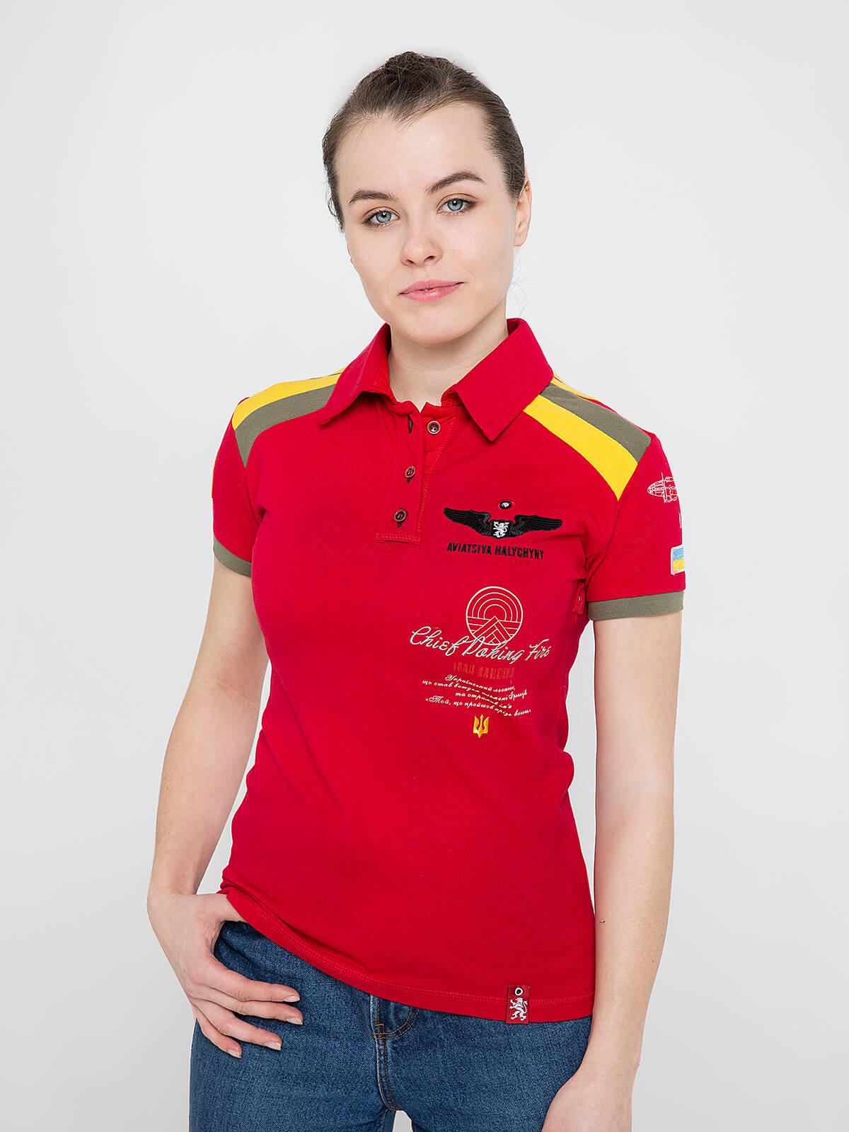 Women's Polo Shirt Indian. Color red. Pique fabric: 100% cotton.