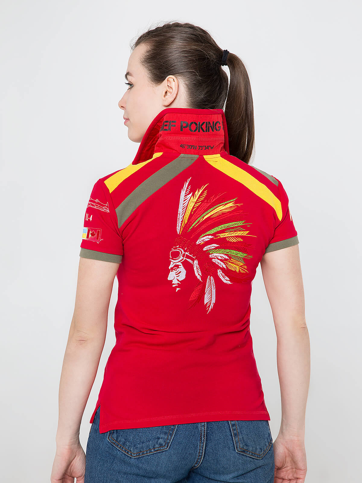 Women's Polo Shirt Indian. Color red.  Technique of prints applied: embroidery, silkscreen printing.