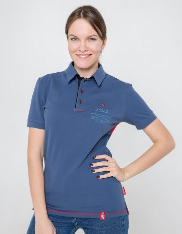 Women's Polo Shirt Wings. Color denim. 7.