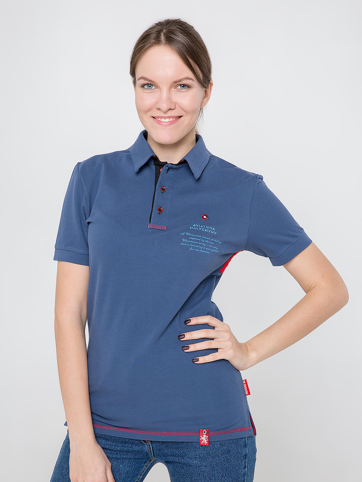 Women's Polo Shirt Wings. Color denim. Unisex polo (men's sizes).