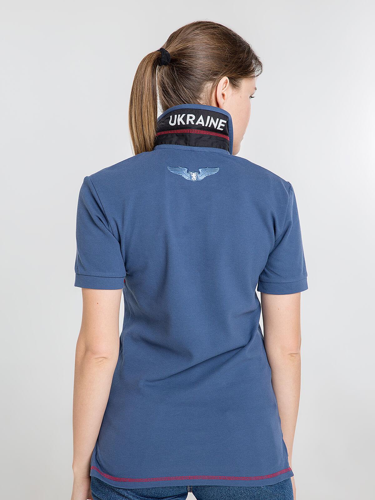 Women's Polo Shirt Wings. Color denim.  Pique fabric: 100% cotton.