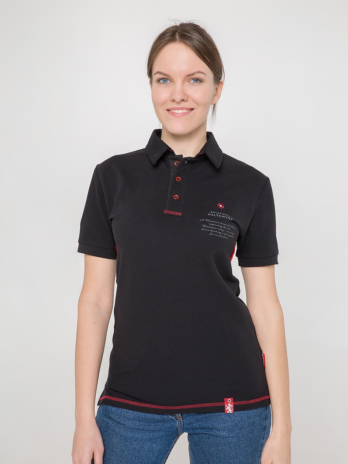 Women's Polo Shirt Wings. Color black. Unisex polo (men's sizes).