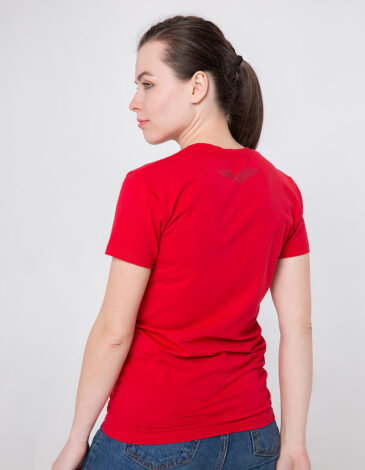 Women's T-Shirt Born To Fly. Color red. Unisex T-shirt (men's sizes).