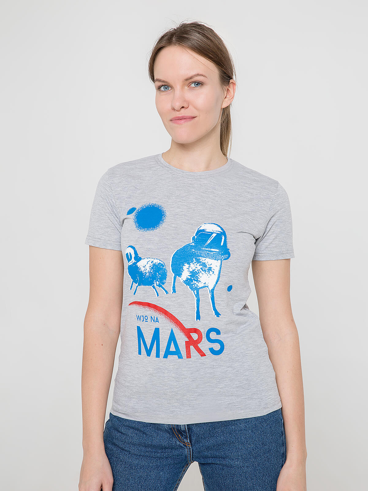 Women's T-Shirt Wjo Na Mars. Color gray. Material: 95% cotton, 5% spandex.