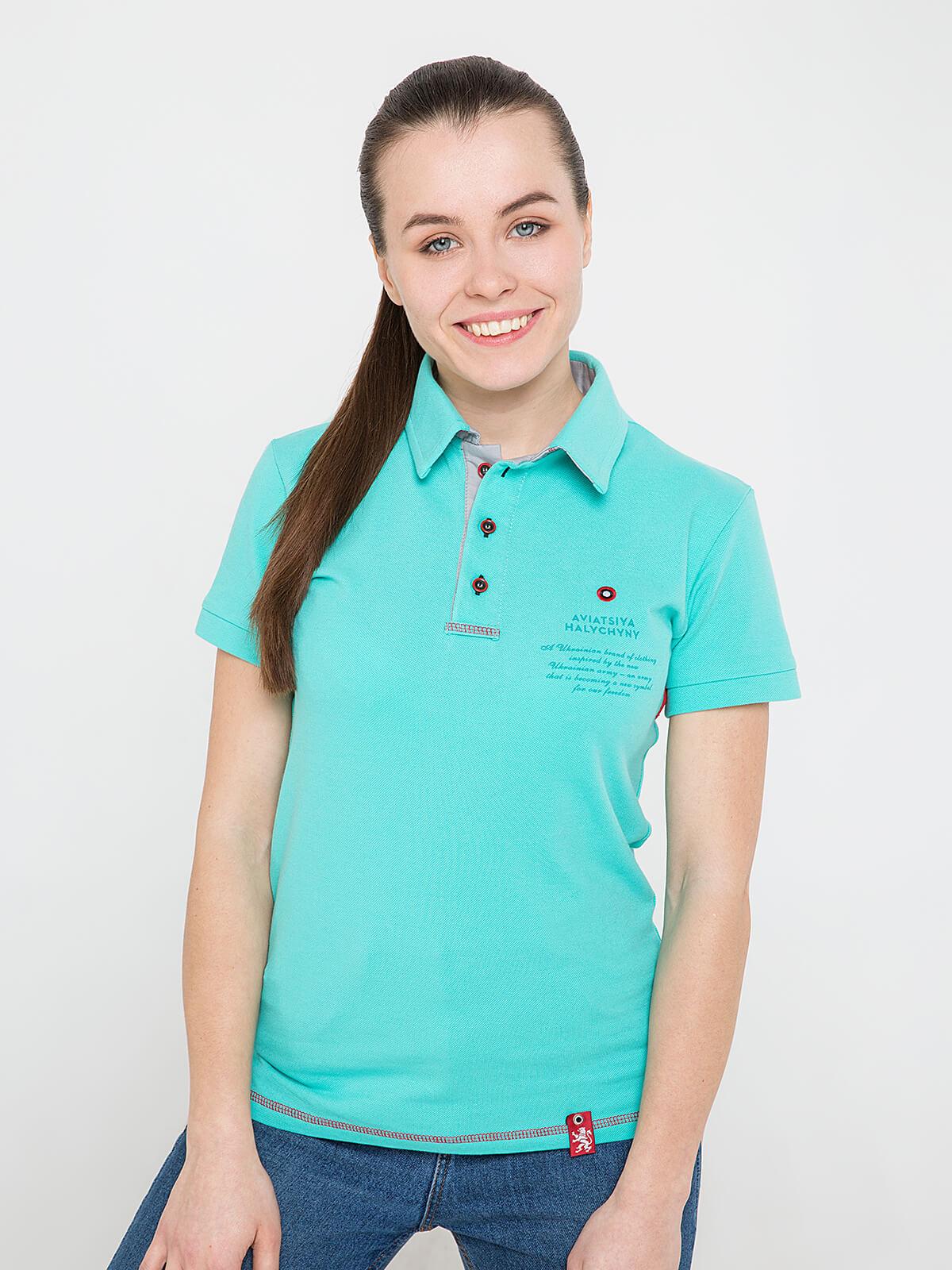 Women's Polo Shirt Wings. Color mint. Unisex polo (men's sizes).