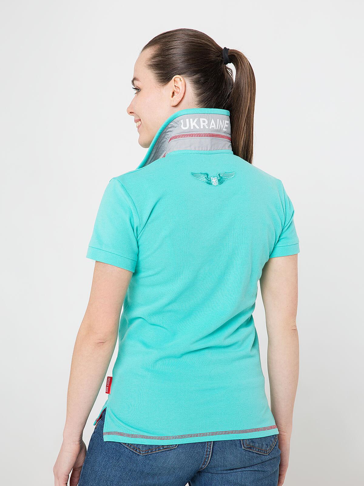 Women's Polo Shirt Wings. Color mint.  Pique fabric: 100% cotton.