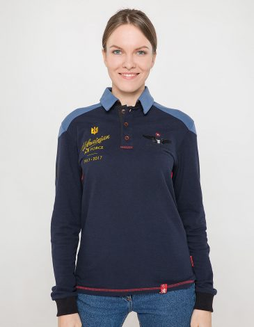 Women's Polo Long 100 Years Of Ua. Color dark blue. Unisex polo (men's sizes).