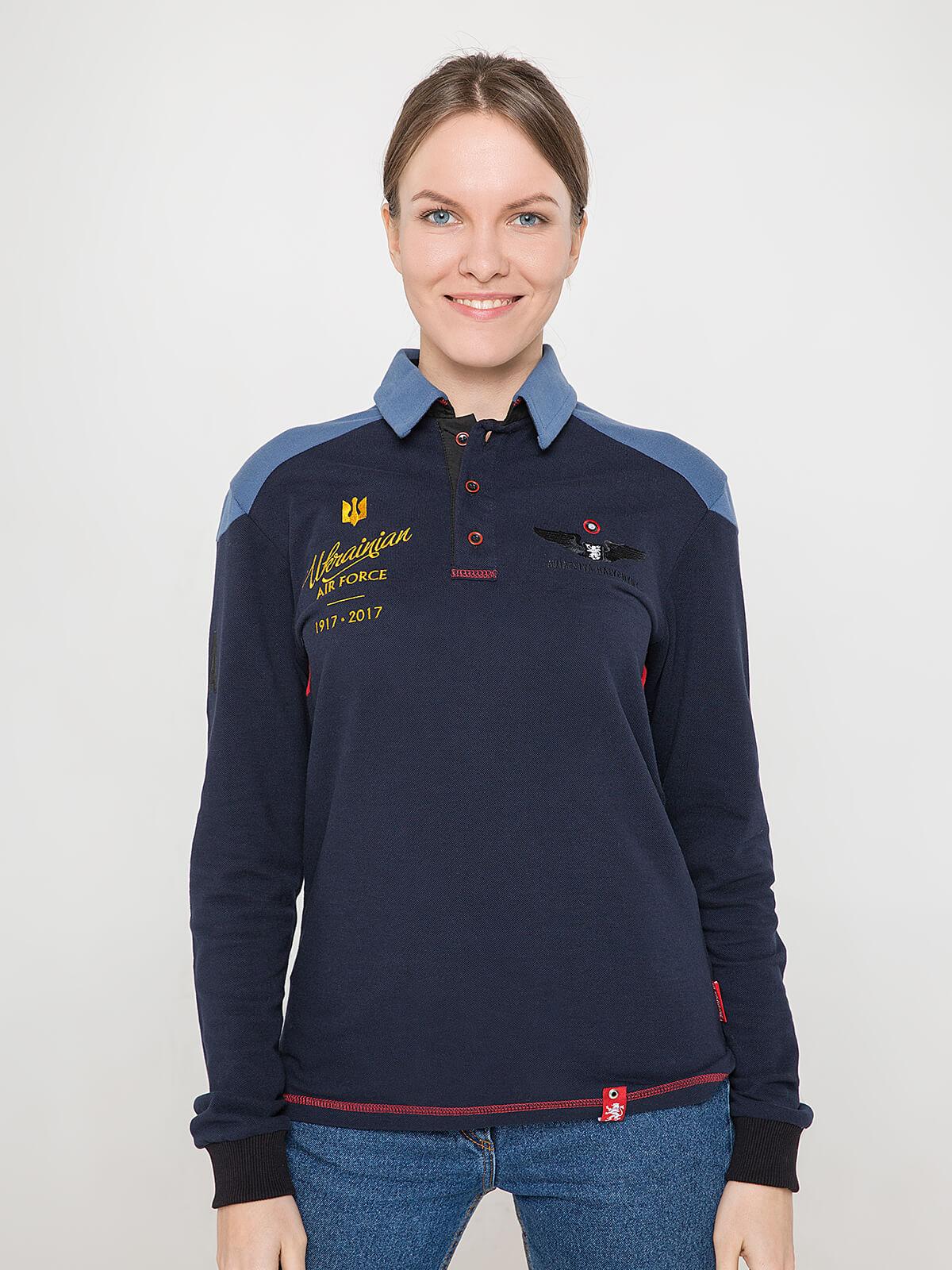 Women's Polo Long 100 Years Of Ua. Color dark blue. Unisex polo (men's sizes).