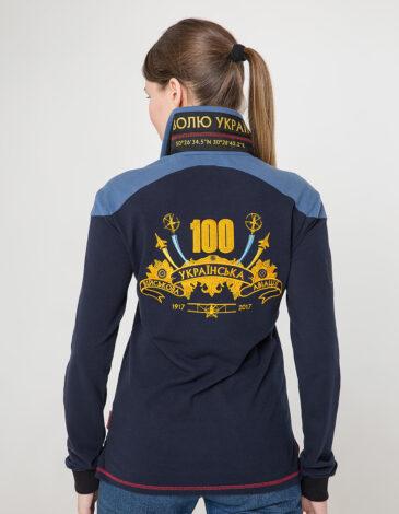 Жіноче Поло-Лонґ 100 Років Української Авіації. Колір темно-синій. Поло унісекс (розміри чоловічі).