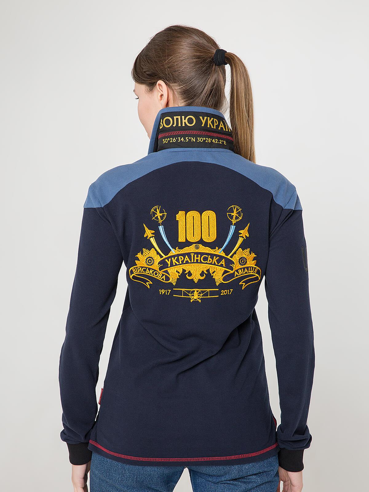 Жіноче Поло-Лонґ 100 Років Української Авіації. Колір темно-синій.  Не варто переживати за універсальний розмір.