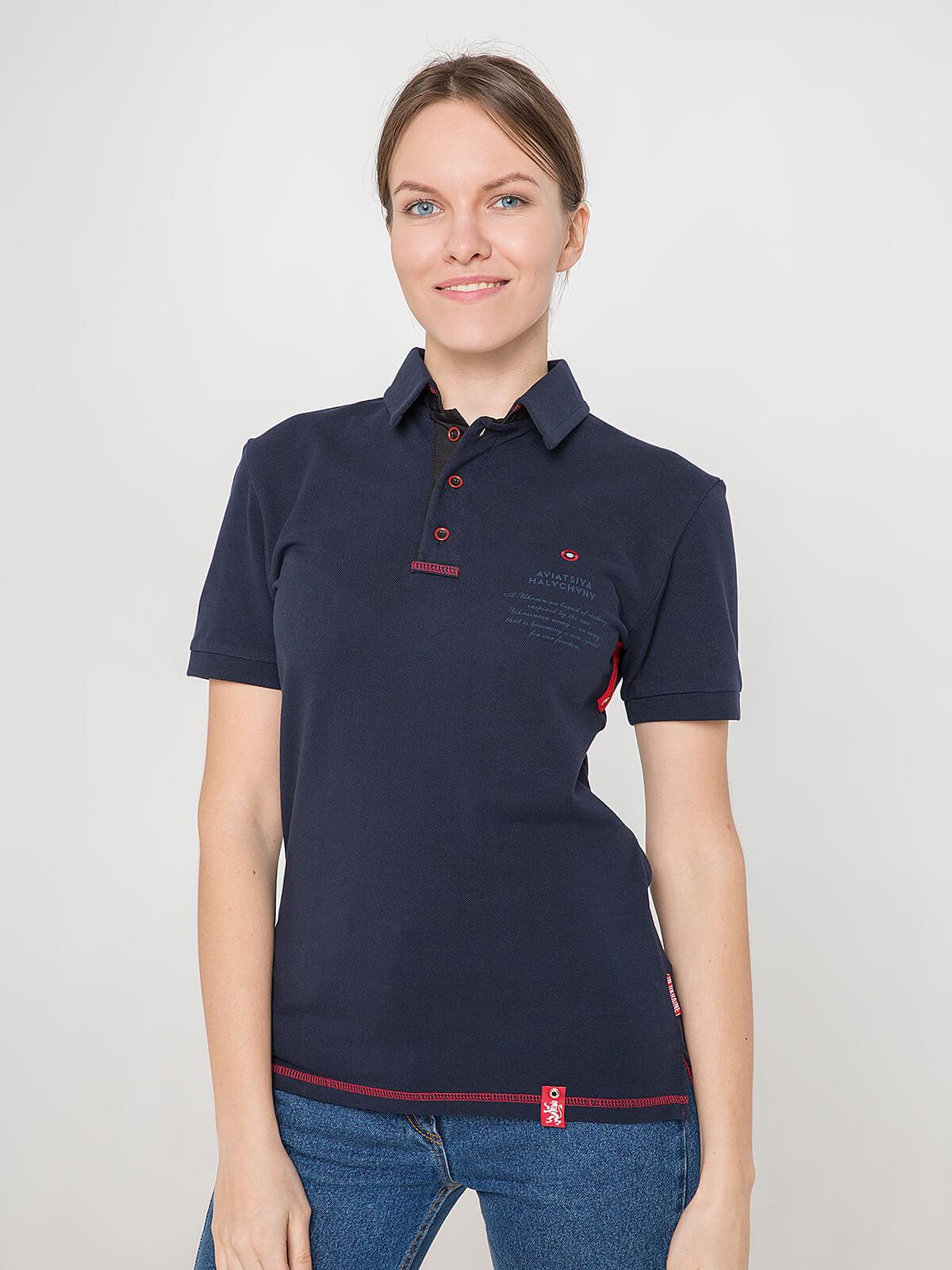 Women's Polo Shirt Wings. Color dark blue. Unisex polo (men's sizes).
