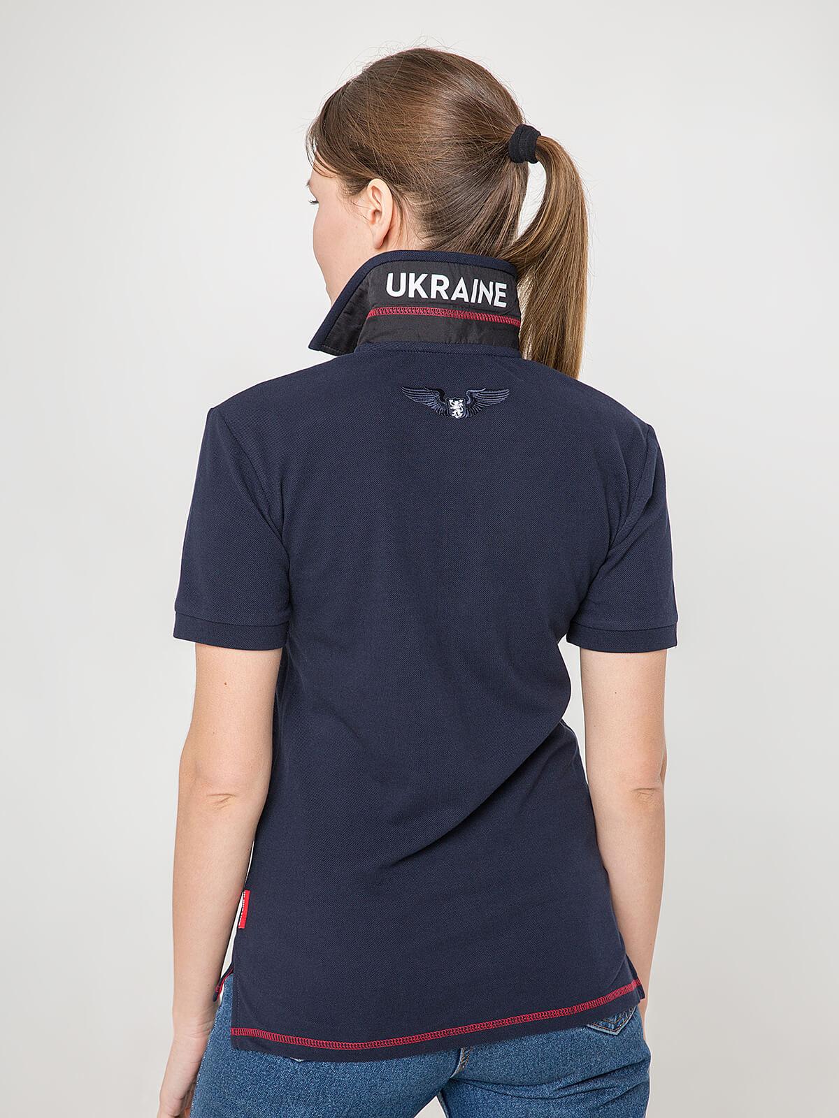 Women's Polo Shirt Wings. Color dark blue.  Pique fabric: 100% cotton.