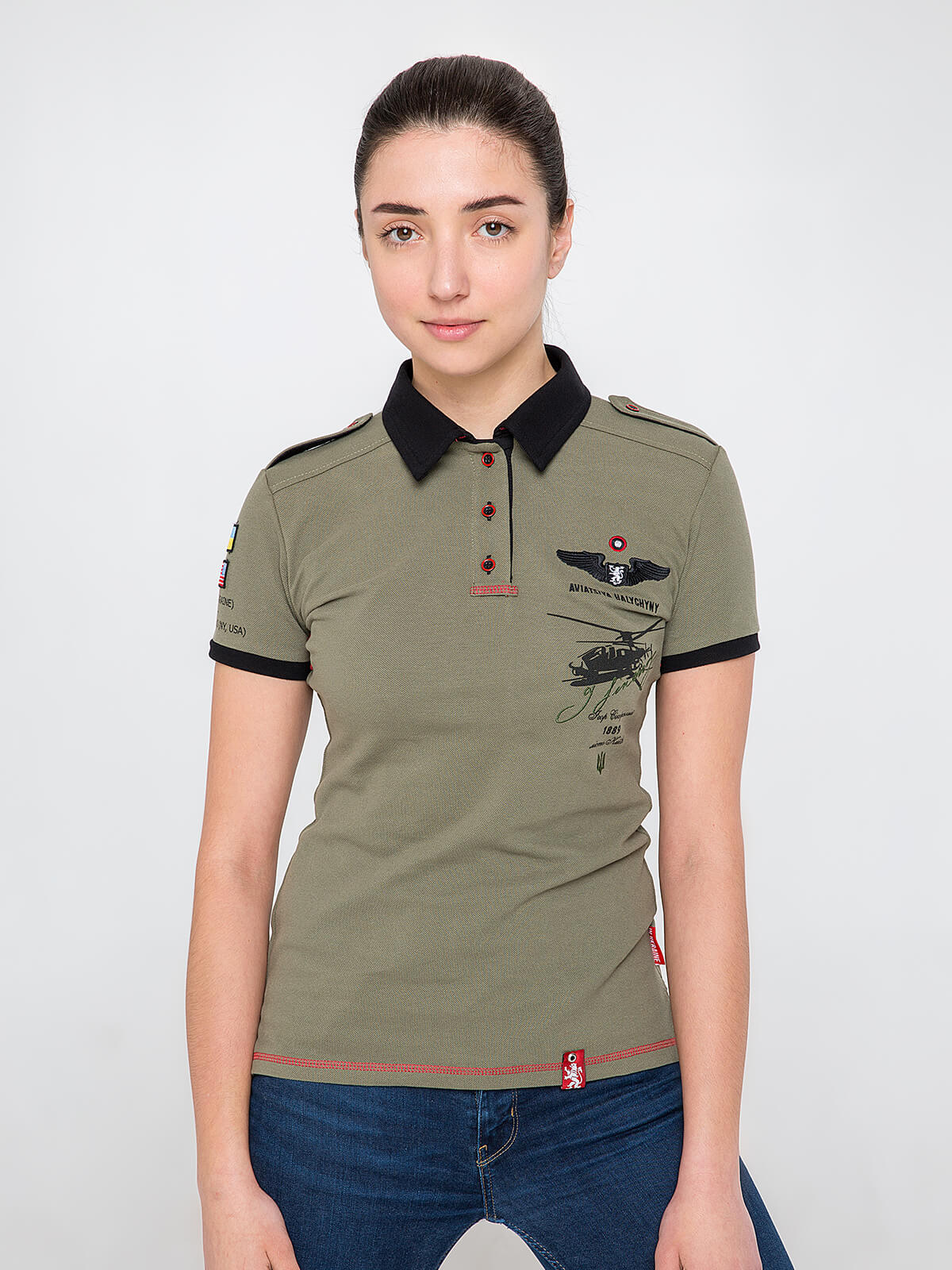 Women's Polo Shirt Sikorsky. Color khaki. Pique fabric: 100% cotton.