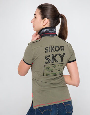 Women's Polo Shirt Sikorsky. Color khaki. Pique fabric: 100% cotton.