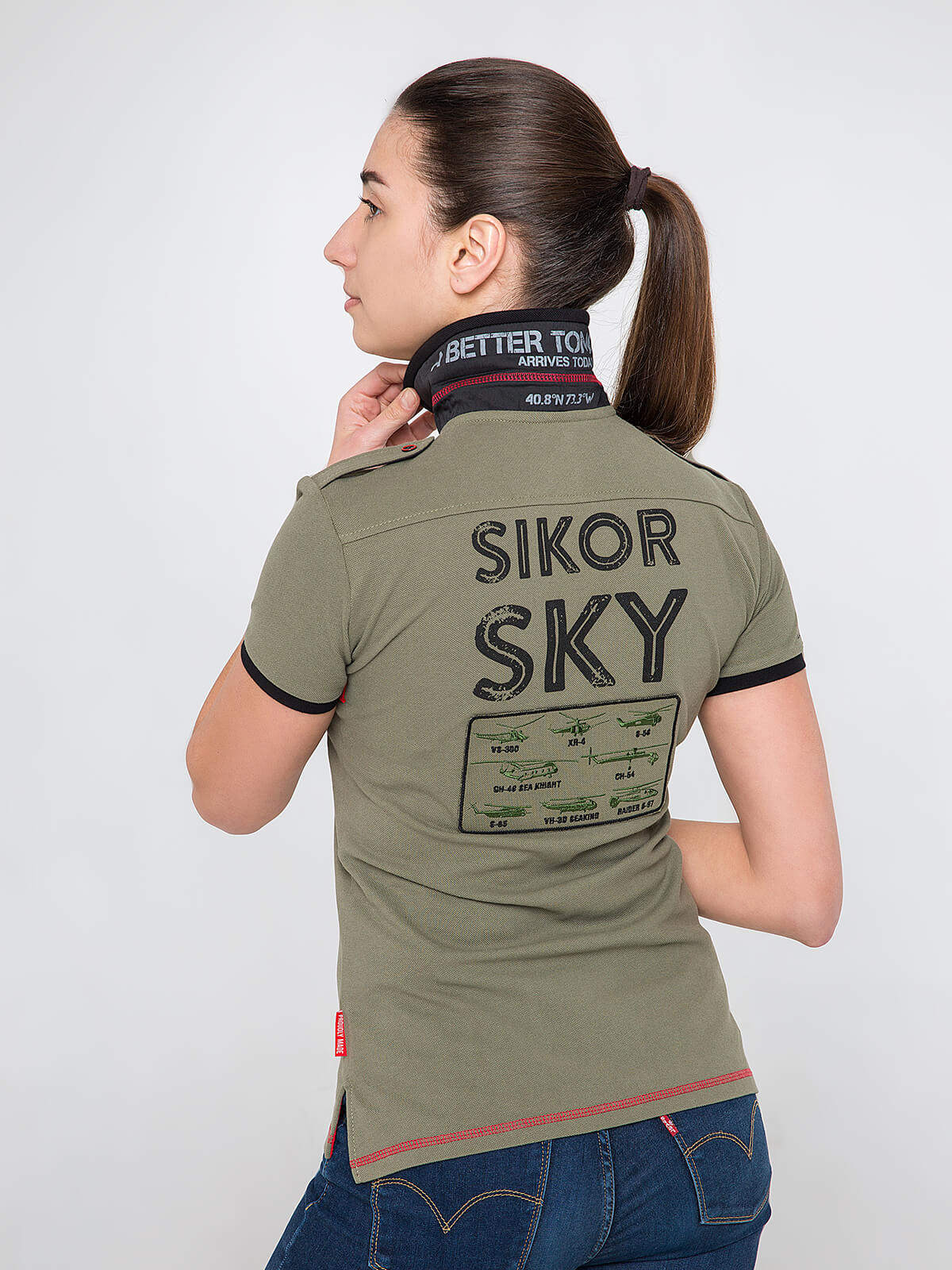 Women's Polo Shirt Sikorsky. Color khaki.  Technique of prints applied: embroidery, silkscreen printing, chevron.