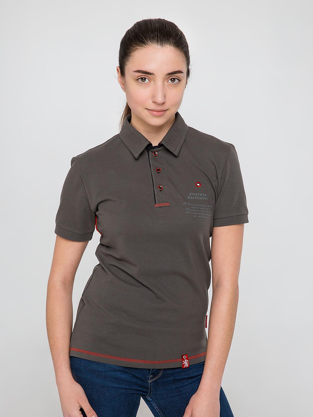 Women's Polo Shirt Wings. Color khaki brown. Unisex polo (men's sizes).