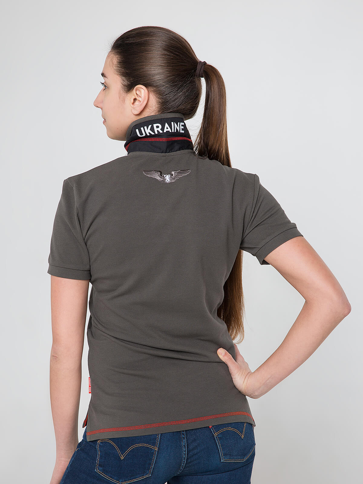 Women's Polo Shirt Wings. Color khaki brown.  Pique fabric: 100% cotton.