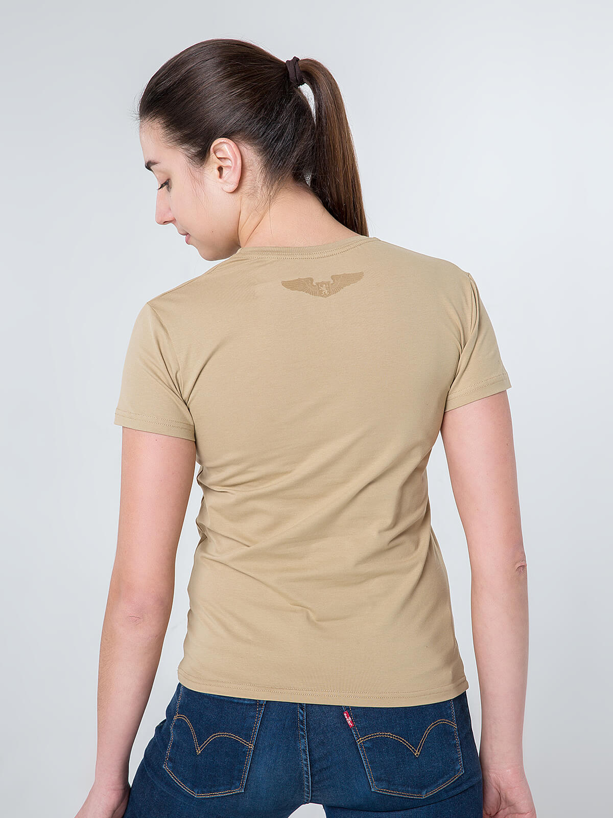 Women's T-Shirt Born In Ukraine. Color sand.  Don't worry about the universal size.