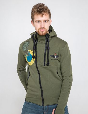 Men's Hoodie Ukrainian Falcons. Color khaki. Material: 77% cotton, 23% polyester.