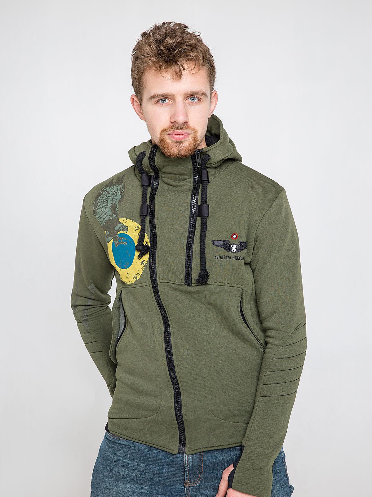 Men's Hoodie Ukrainian Falcons. Color khaki. Material: 77% cotton, 23% polyester.