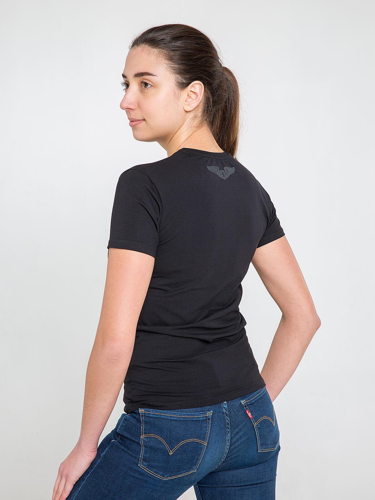 Women's T-Shirt Fight Like Ukrainian. Color black.  Technique of prints applied: silkscreen printing.