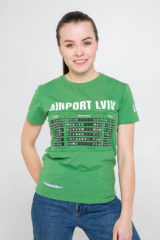 Women's T-Shirt Airport Lviv. Material: 95% cotton, 5% spandex.
