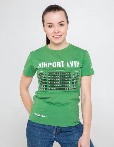 Жіноча Футболка Аеропорт Львів. Колір зелений. Цей продукт наявнийВ ОСТАННІХ ЕКЗЕПЛЯРАХі більшеВИГОТОВЛЯТИСЬ НЕ БУДЕ.