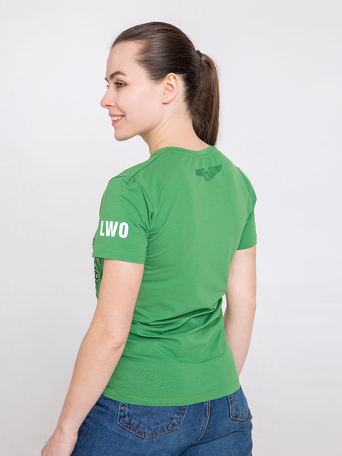 Women's T-Shirt Airport Lviv. Color green.  Technique of prints applied: silkscreen printing.