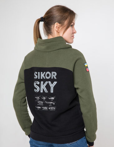 Women's Sweatshirt Sikorsky. Color khaki. Unisex sweatshirt (men's sizes).